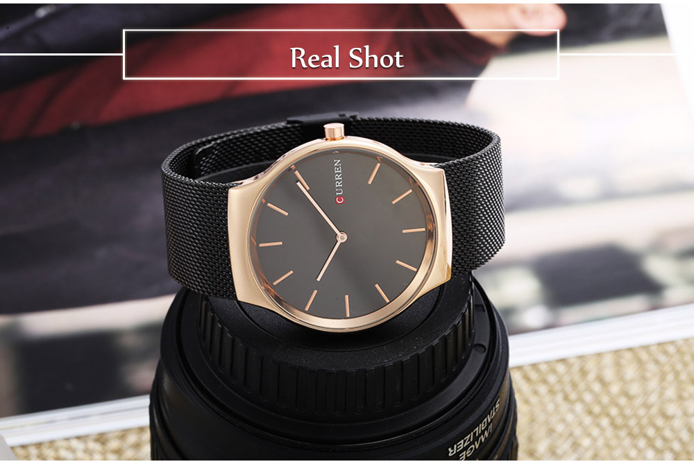 CURREN 8256 Casual Simple Nail Scale Male Quartz Watch Stainless Steel Net Strap Wristwatch