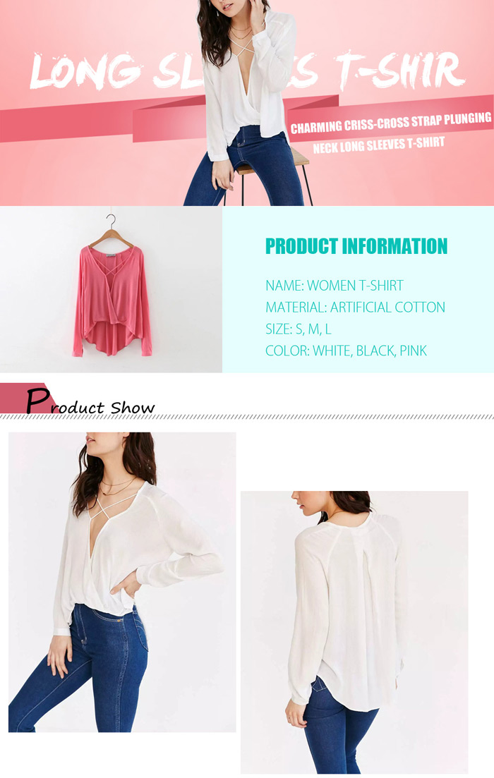 Women Criss-cross Strap Plunging Neck Loose Fit Long Sleeves T-shirt