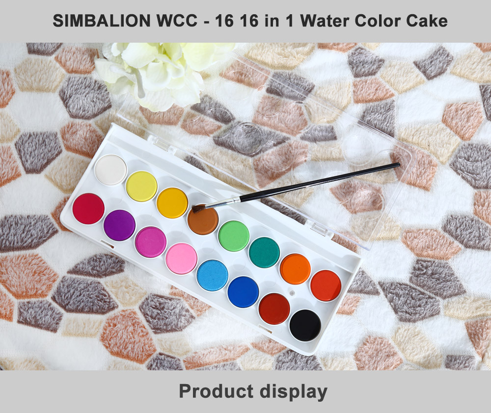 SIMBALION WCC - 16 16 in 1 Water Color Cake Solid Watercolor Paints for Painting