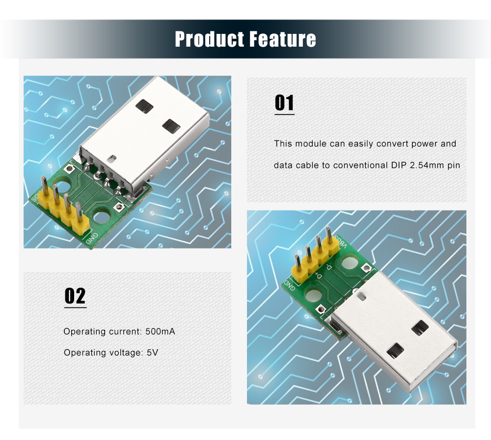 USB Male to 2.54mm DIP 4P Adapter Module DIY for Breadboard