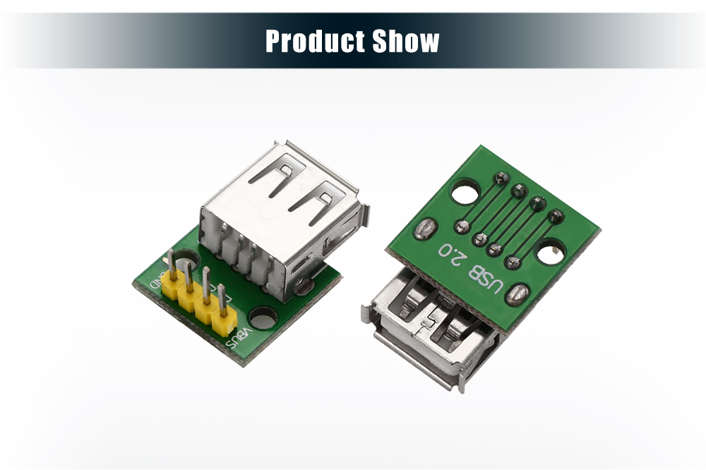 Type A Female USB Interface to 2.54mm DIP 4P Adapter Module for Breadboard