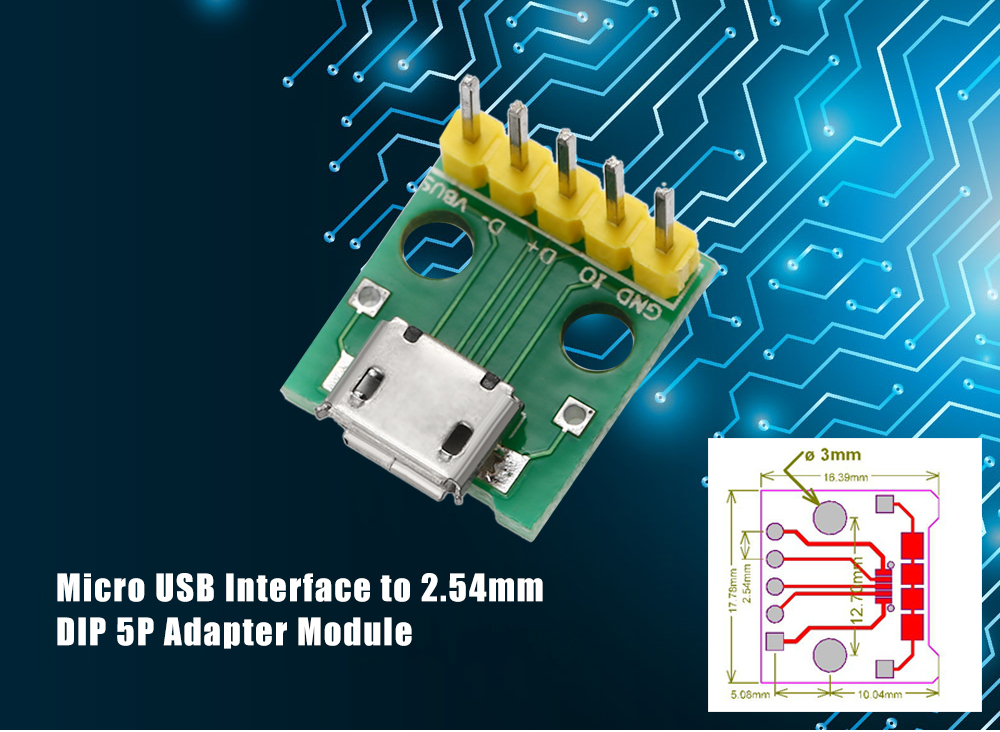 Micro USB Interface to 2.54mm DIP 5P Adapter Module for DIY Project