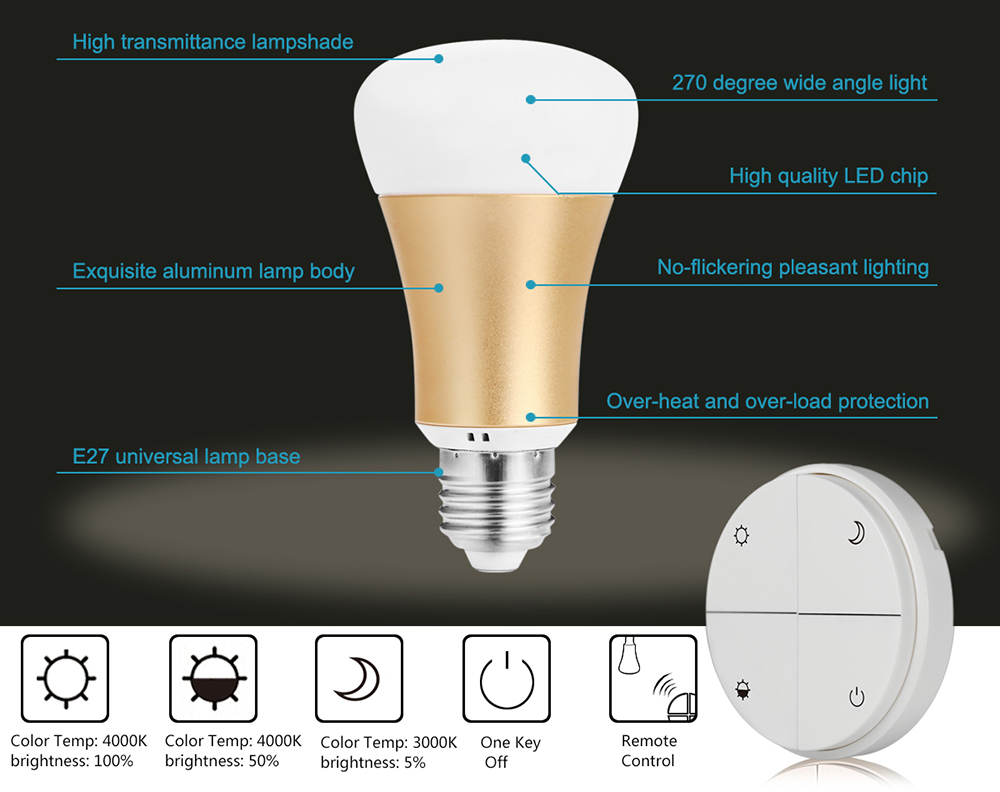 E27 Smart Dimming Bulb with Battery-free Controller