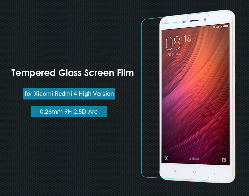 Luanke Tempered Glass Screen Film for Xiaomi Redmi 4 High Version Ultra-thin 0.26mm 2.5D 9H Explosion-proof Protector