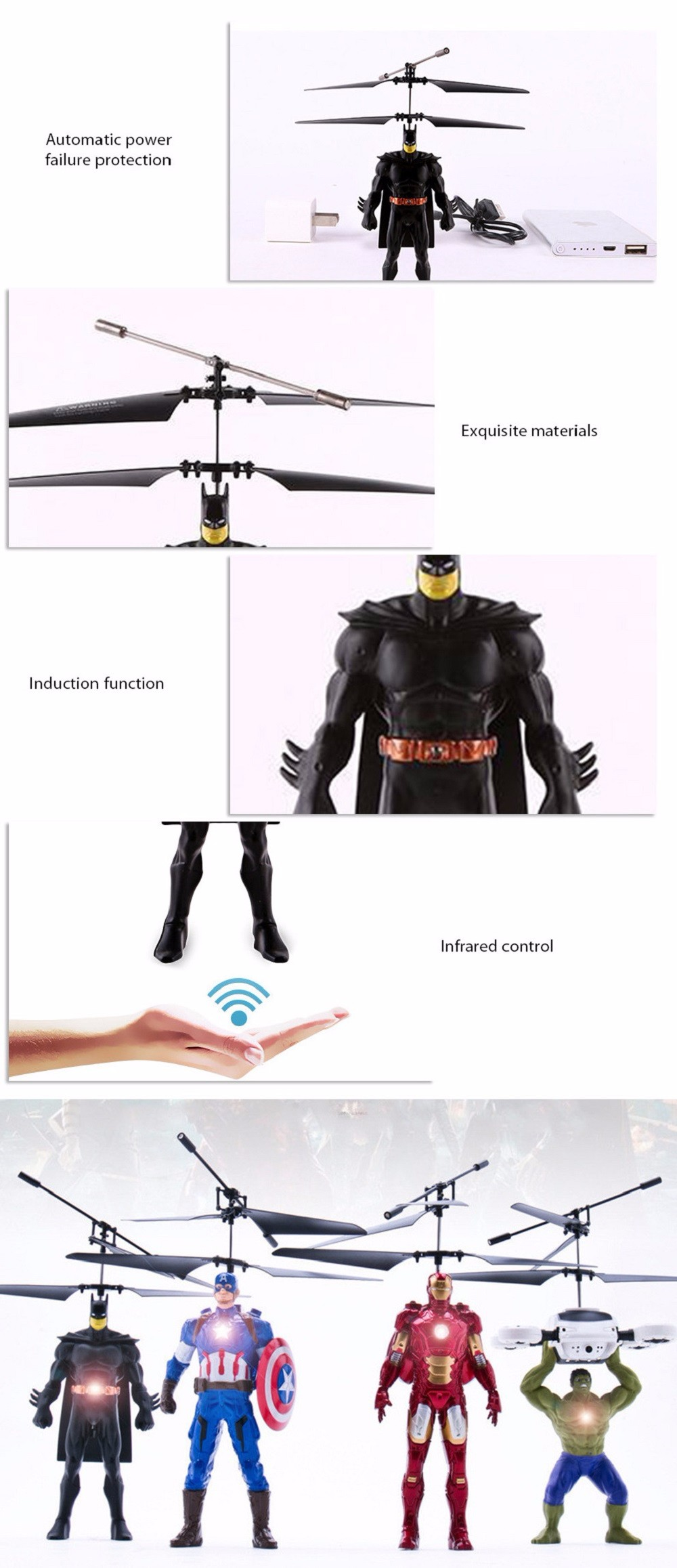 ZOYO Cartoon Hero Shape Infrared Control Helicopter Robotic Toy with Colorful Light
