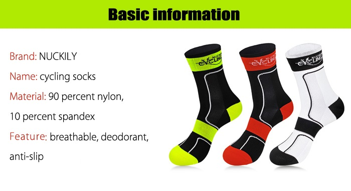 NUCKILY Unisex Mid-calf Nylon / Spandex Pair of Cycling Socks for Outdoor Sports
