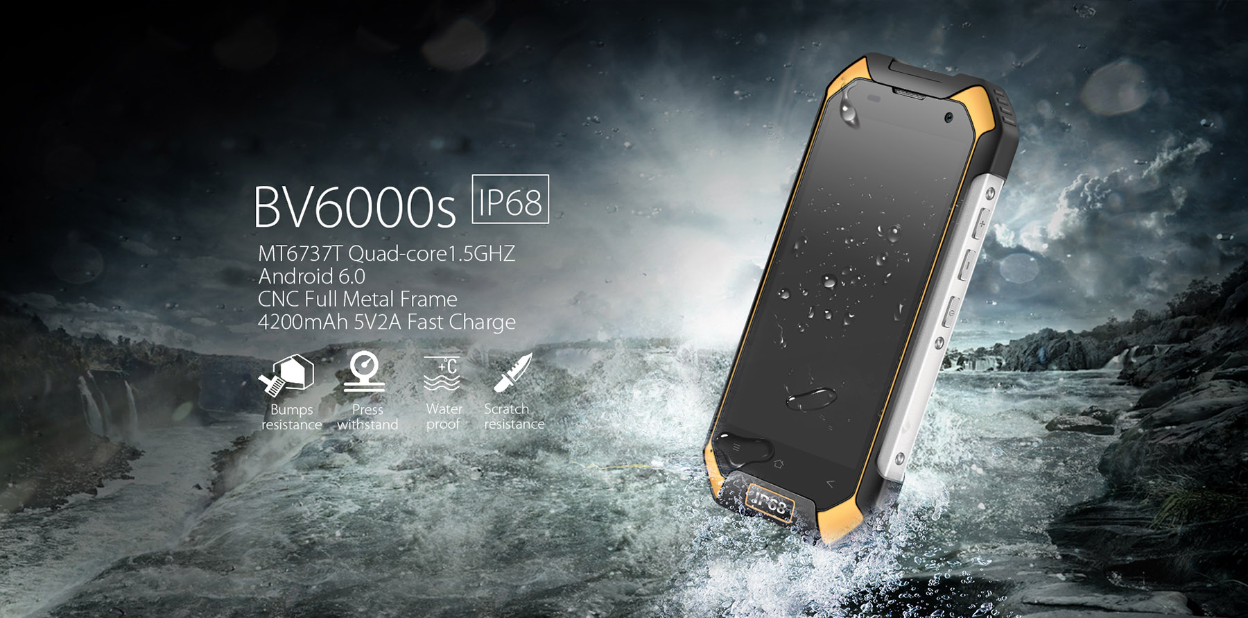 Blackview BV6000S Android 6.0 4.7 inch 4G Smartphone MTK6737 1.5GHz Quad Core 2GB RAM 16GB ROM Waterproof Shockproof NFC GPS