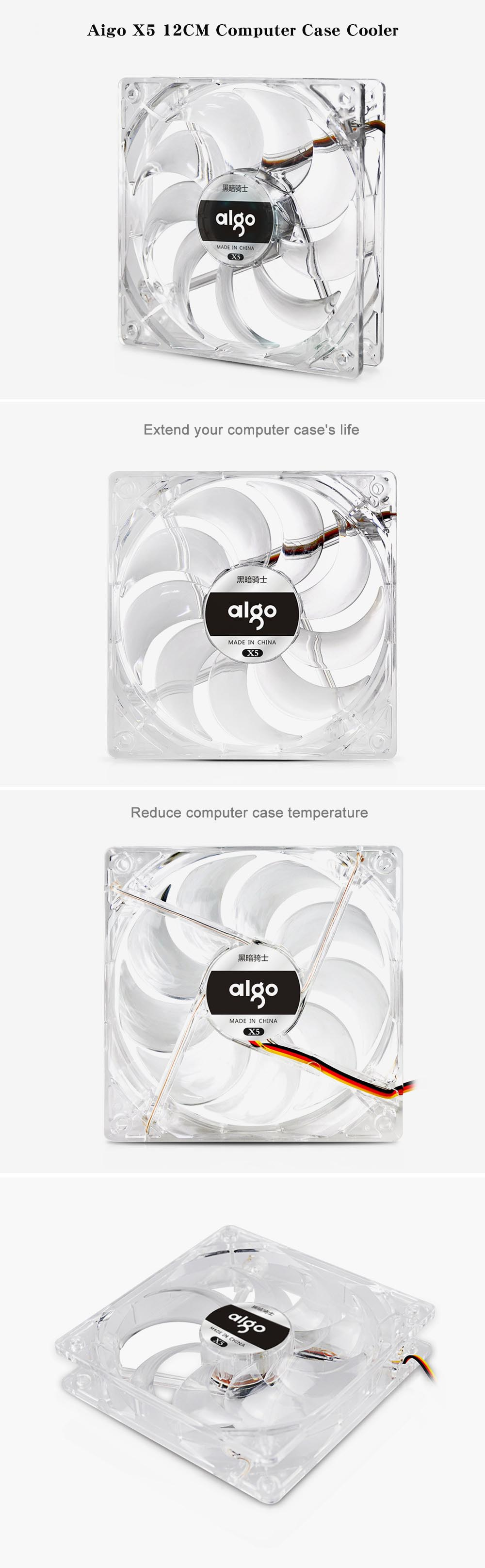 Aigo X5 12CM Computer Case Cooler with Red LED Light