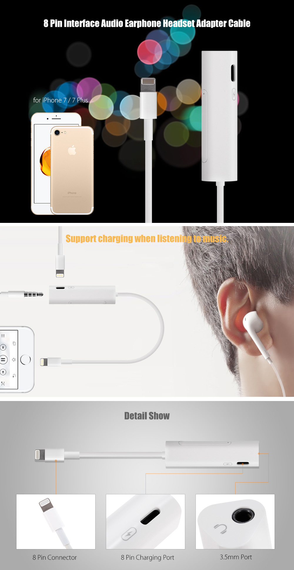 8 Pin Interface Earphone Headset Adapter Cable Support Charging for iPhone 7 / 7 Plus