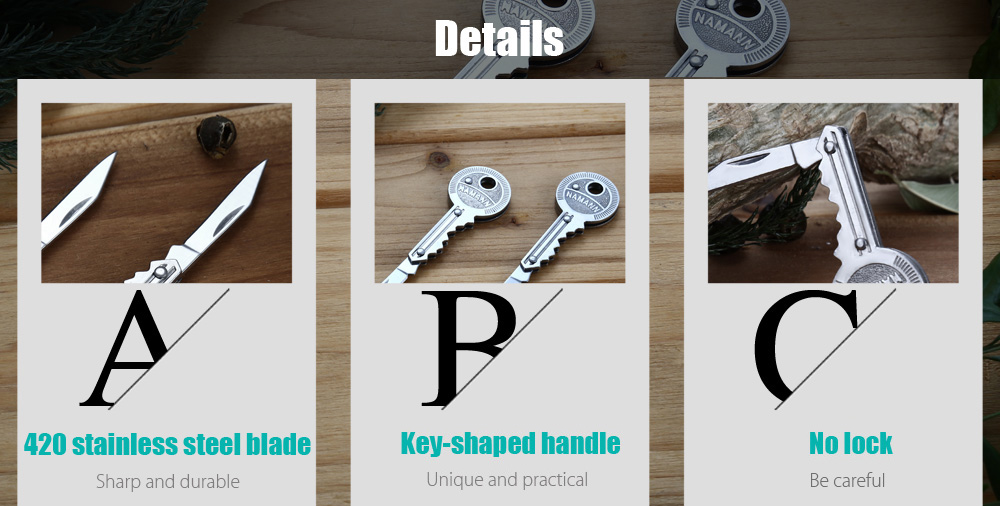 2pcs Portable 420 Stainless Steel No Lock Key-shaped Folding Knife