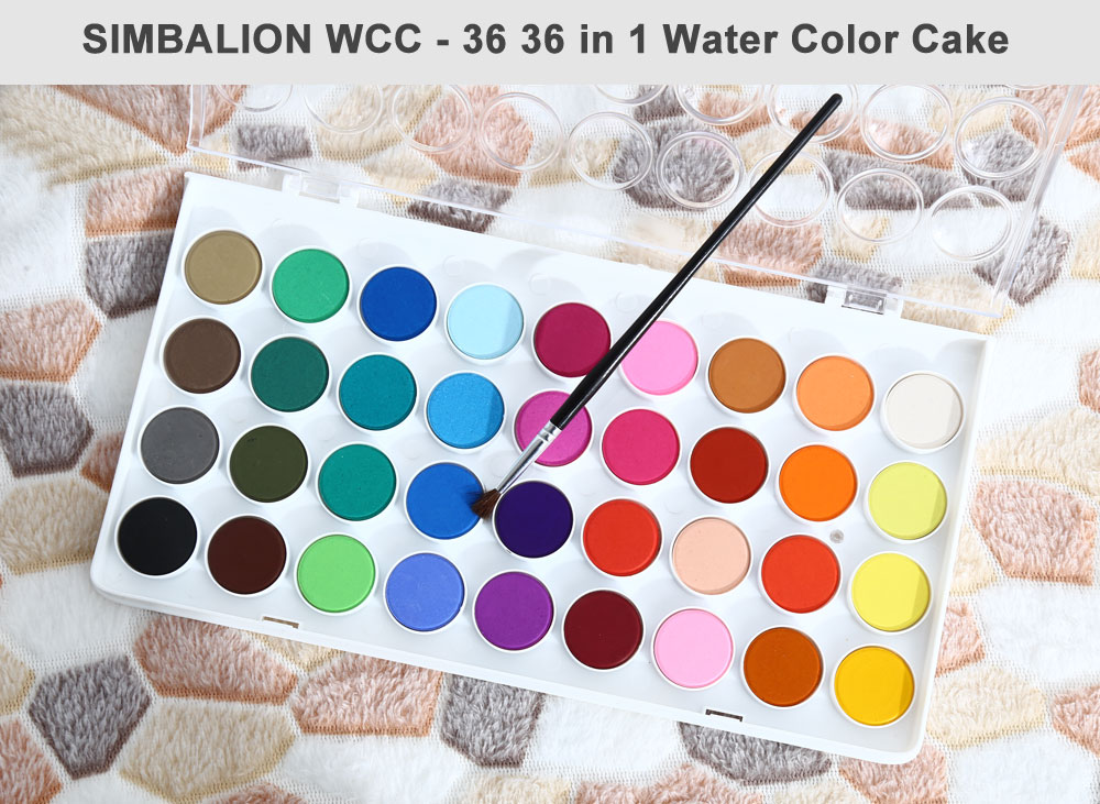 SIMBALION WCC - 36 36 in 1 Water Color Cake Solid Watercolor Paints for Painting