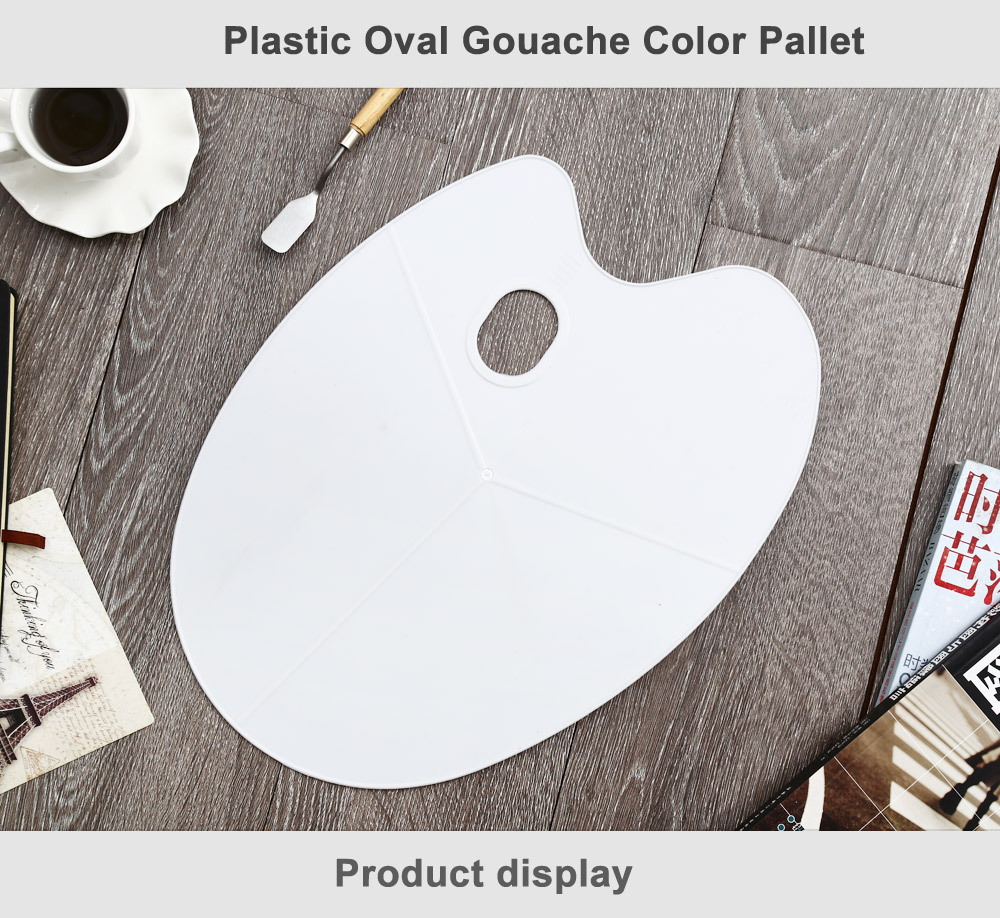 Plastic Oval Color Pallet for Gouache / Watercolor / Acrylic Painting