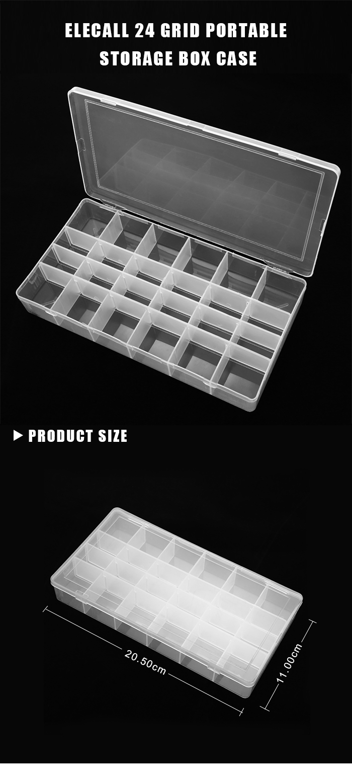 ELECALL 24 Grid Adjustable Translucent Storage Box Case for Craft Metal Electronic Components