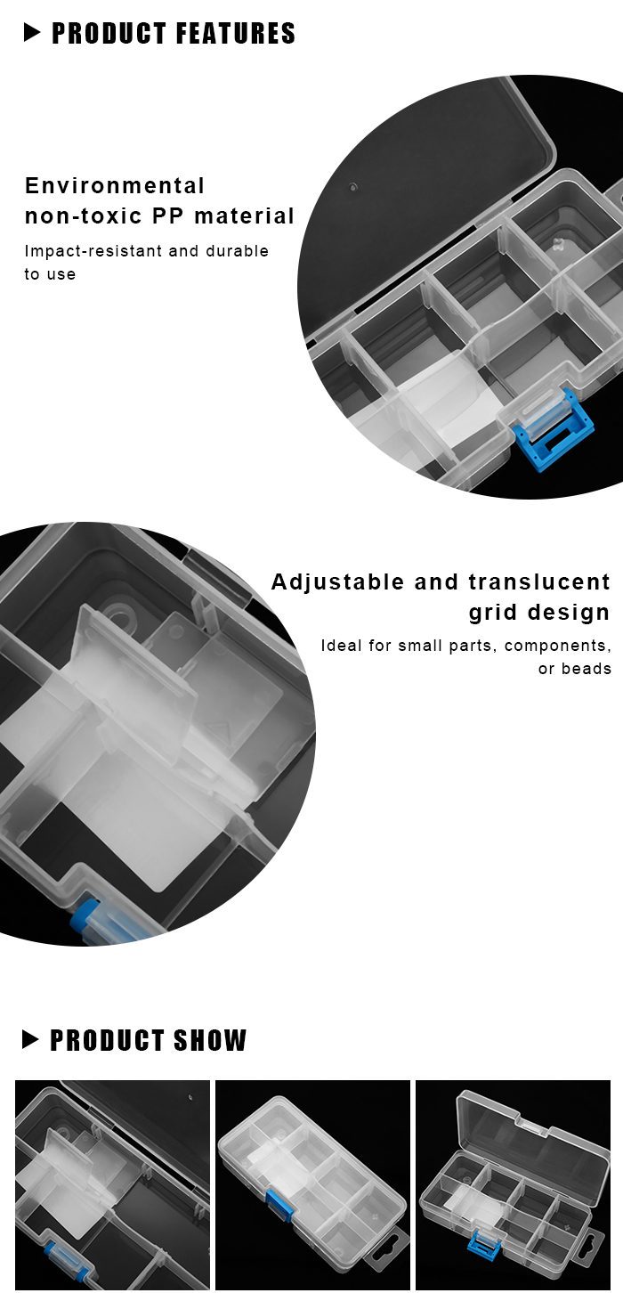 ELECALL 7 Grid Adjustable Translucent Storage Box Case for Craft Metal Electronic Components