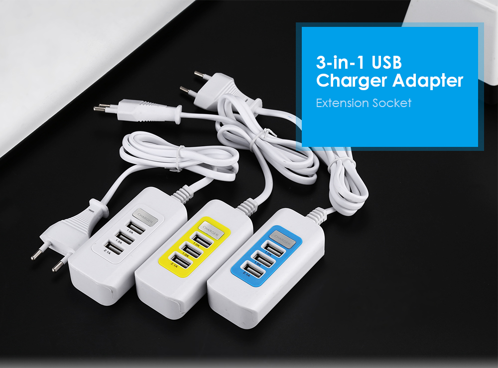 EU Standard Plug Power Adapter Wall Charger Extension Socket 3 USB Output