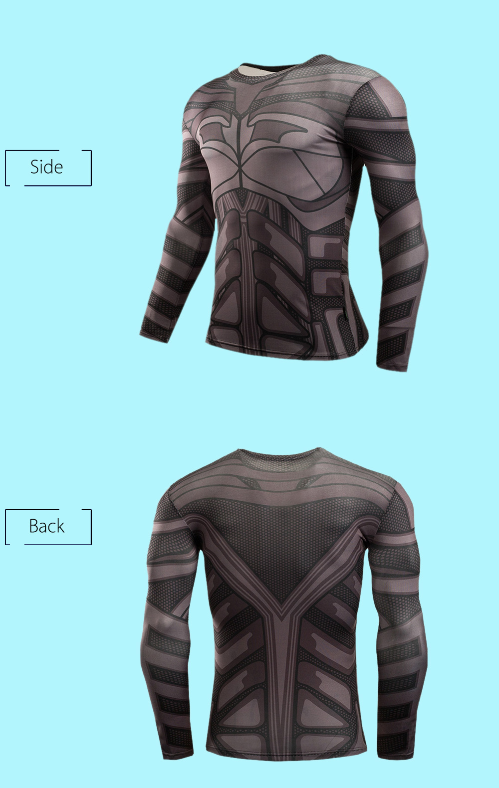 3D Print Classic Cartoon Figure Tight Fit Long Sleeves T Shirt Fitness Tops
