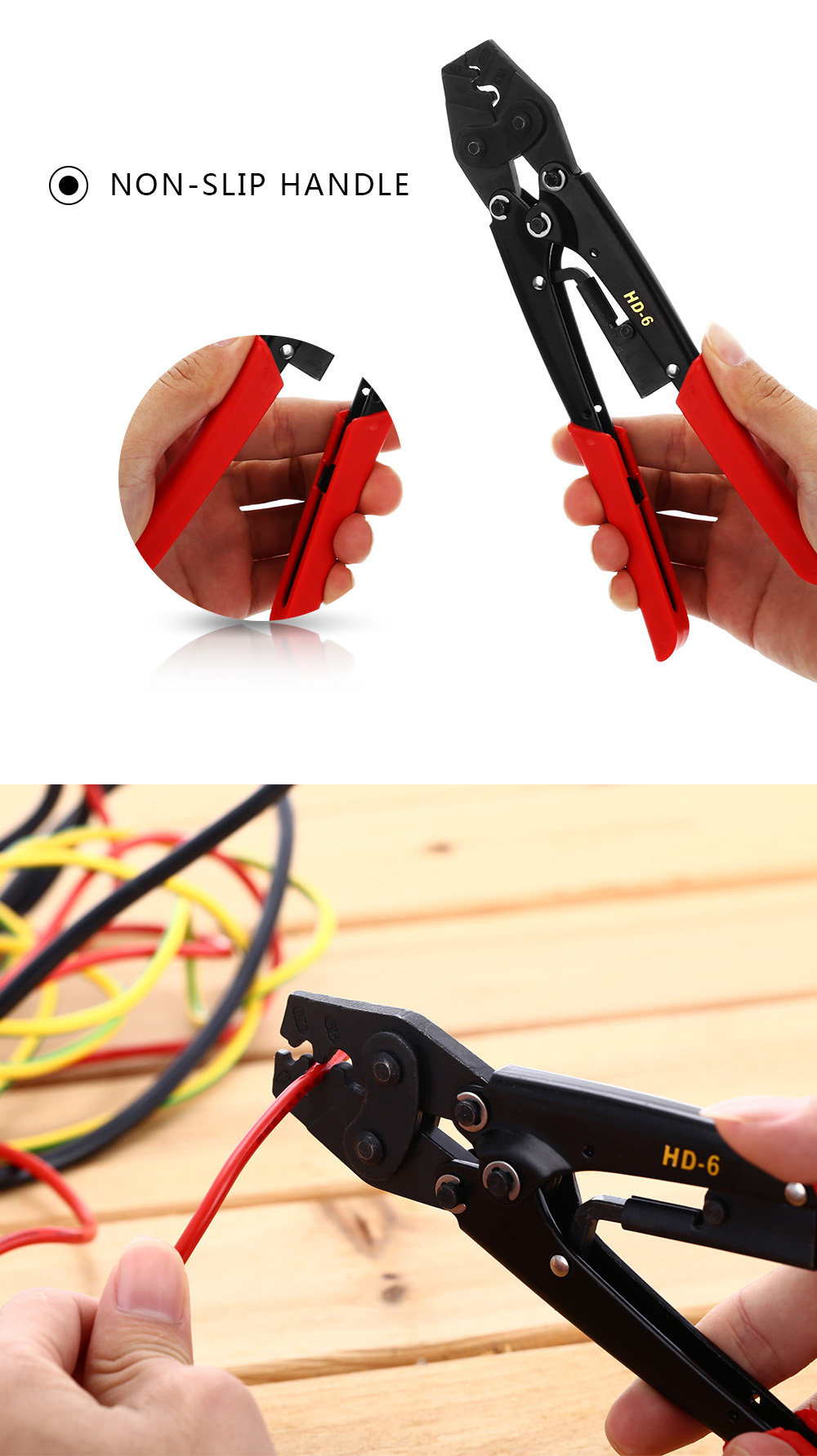 ELECALL HD - 6 Ratchet Terminal Crimping Pliers for Cable End Sleeves