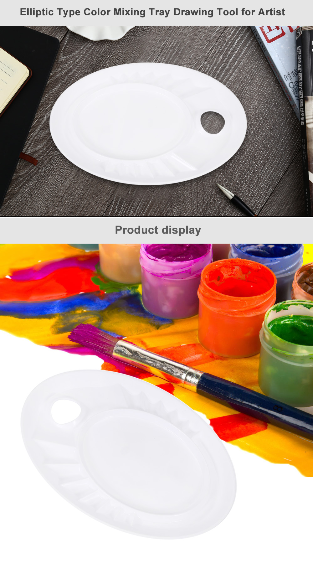 Paint Tray Color Mixing Palette with 13 Case for Painting