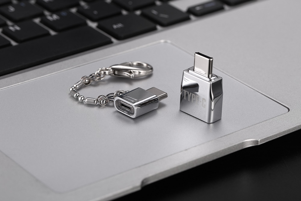 2-in-1 USB 2.0 Micro USB Female to Type-C Male Adapter Connector