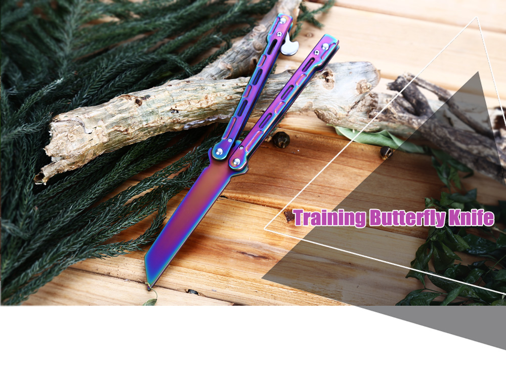 Folding Safe Exercise Tool Training Butterfly Knife with Dull Blade No Edge