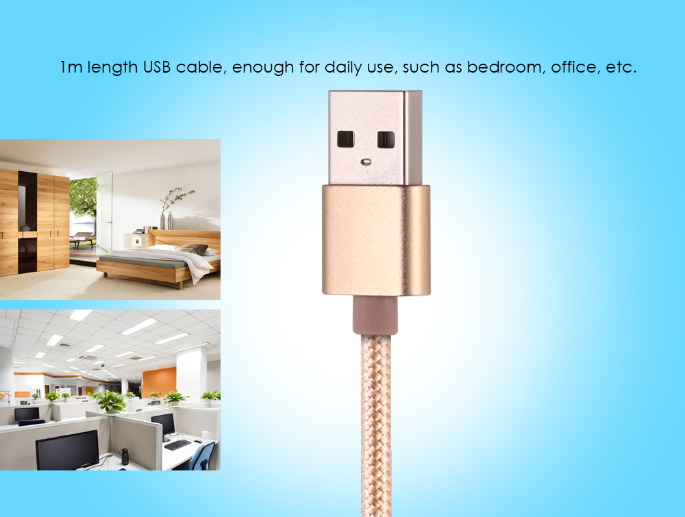 3-in-1 8 Pin Micro USB Type-C to USB 2.0 Data Transfer Charging Cable Nylon Braided Cord - 1m