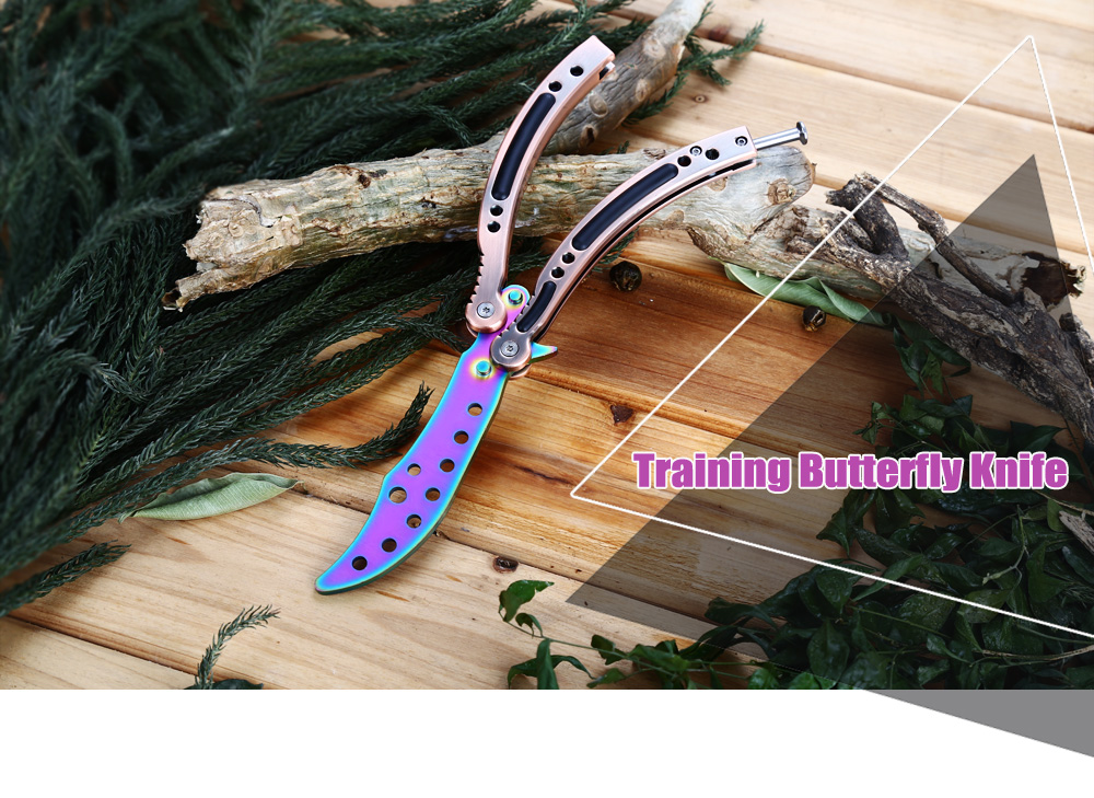 Folding Safe Exercise Tool Dull Blade No Edge Training Butterfly Knife with Pouch