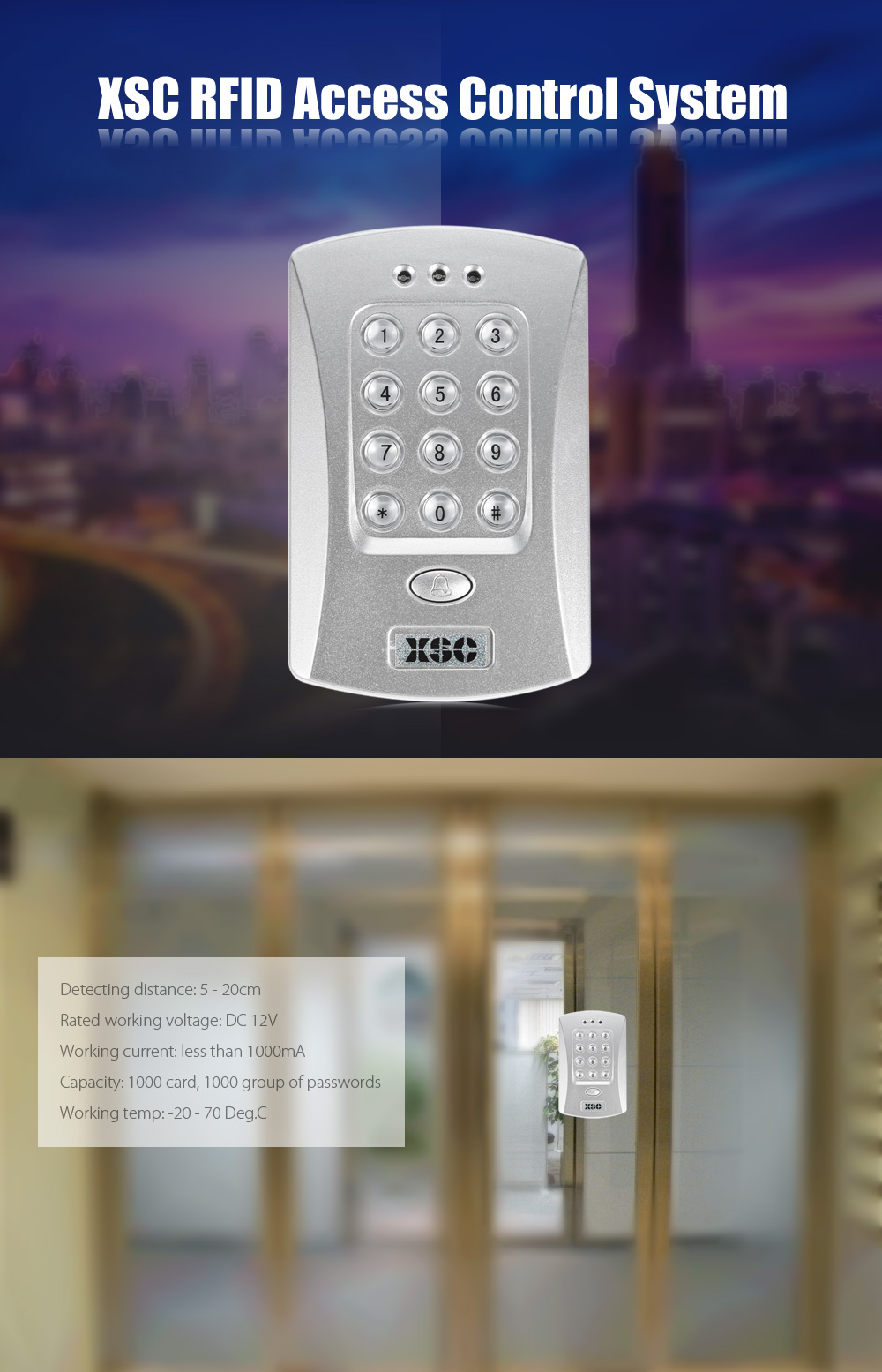XSC Simple Gate RFID Access Control System Entrance with Password / Inductive Card