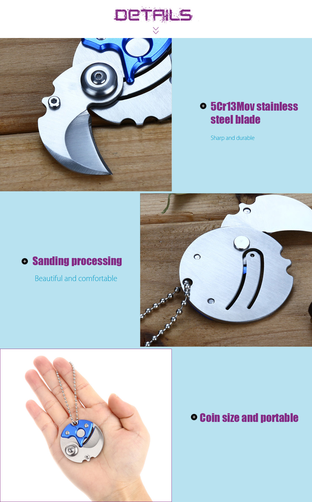 5pcs 5Cr13Mov Stainless Steel Folding Coin Claw Knife with Chain