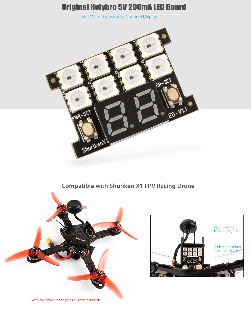 Original Holybro 5V 200mA LED Board with Video Transmitter Channel Display for Shuriken X1 RC Racing Drone