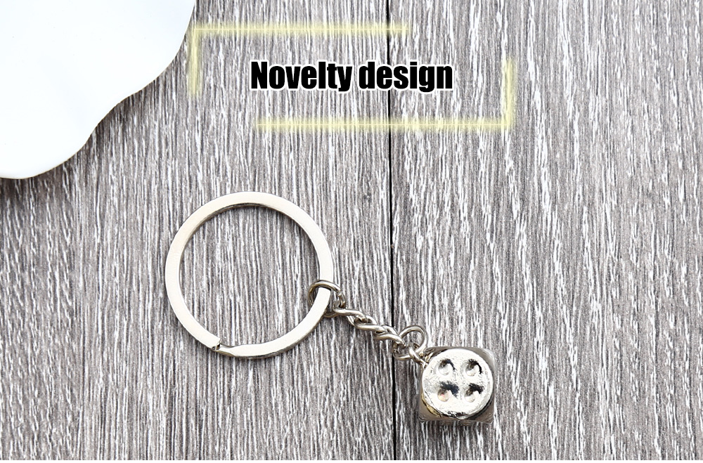 Alloy Dice Key Chain Hanging Pendant Keyring - 2.95 inch