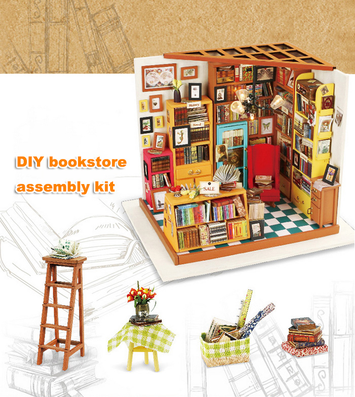 Wooden Bookstore Kit with LED Light Furniture DIY Handcraft Toy
