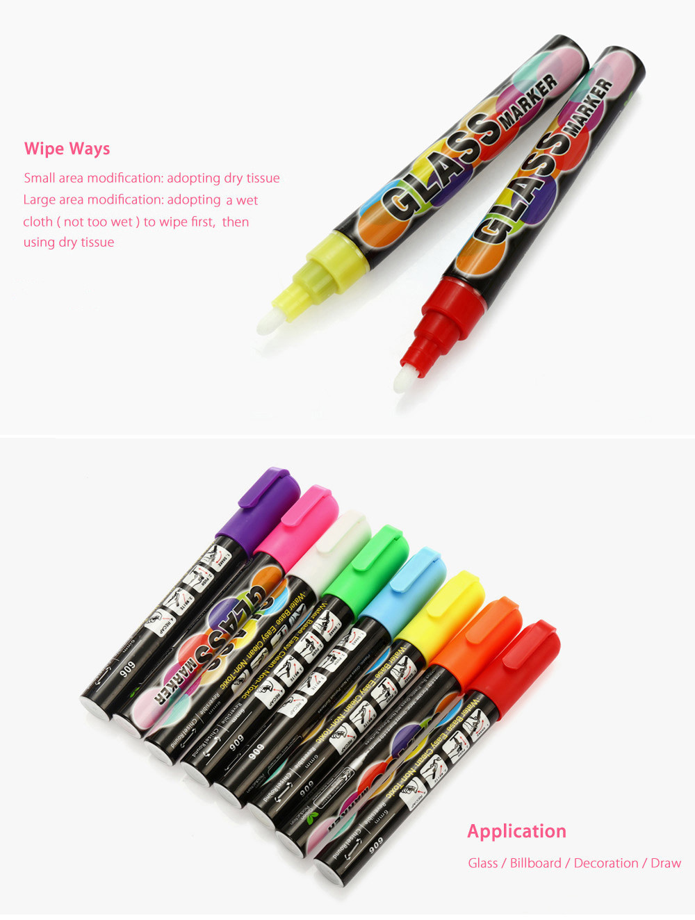 8PCS 6mm Easy Wiping Highlighter