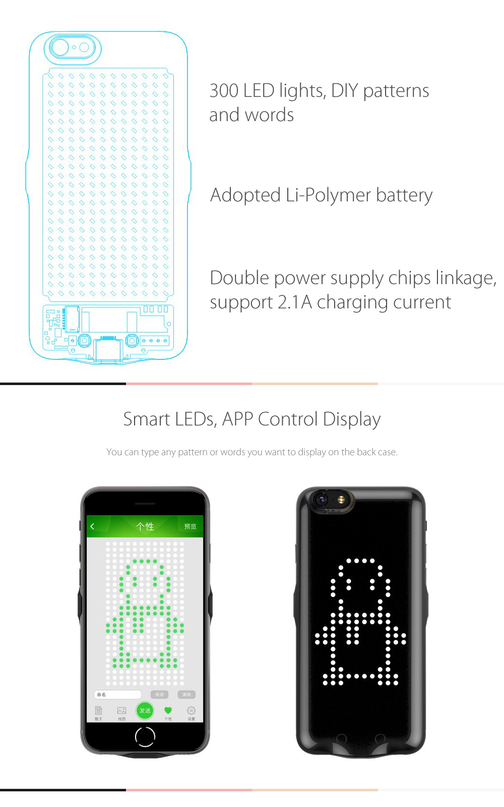 X6 Smart LED Display Backup Power Bank 1800mAh Energy Pack Back Case for iPhone 6 / 6S