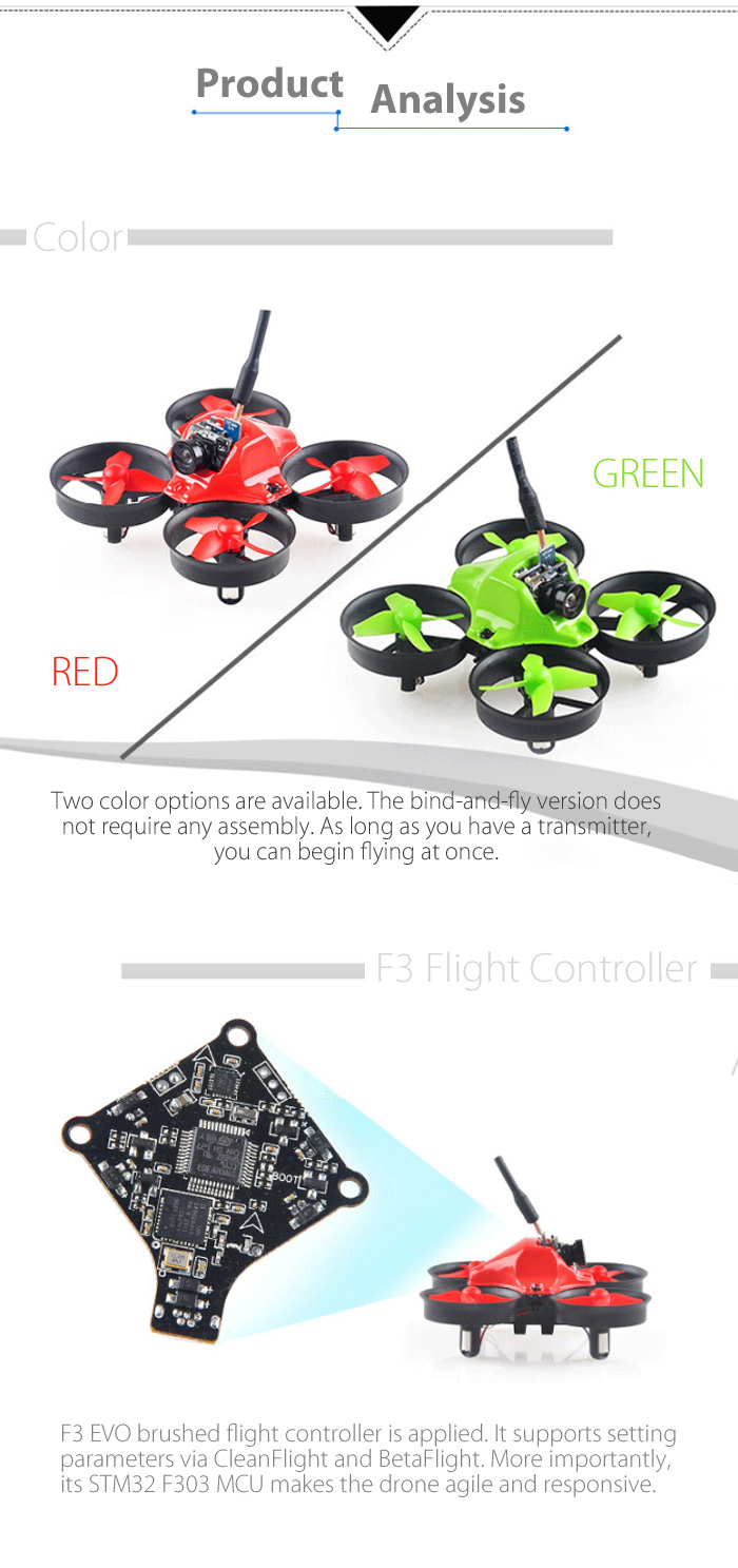 Makerfire MICRO FPV 64mm Mini RC Racing Drone BNF 5.8G 520TVL 2.4GHz 6-axis Gyro with F3 EVO FC Ducted Fan