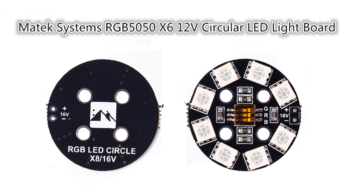 Matek Systems RGB5050 X6 12V Circular LED Board with 7 Colors for RC Toys