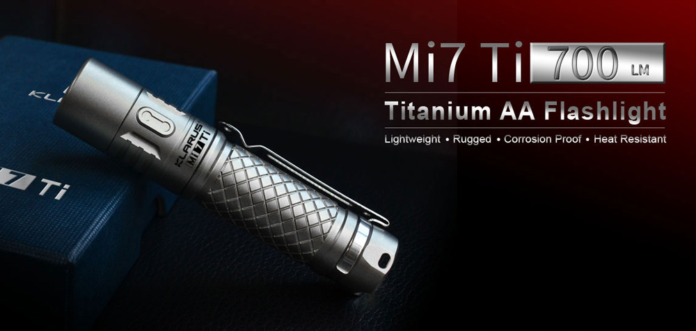 Klarus Mi7 Ti 700Lm Cree XPL HI V3 Mini LED Flashlight TC4 Titanium Alloy