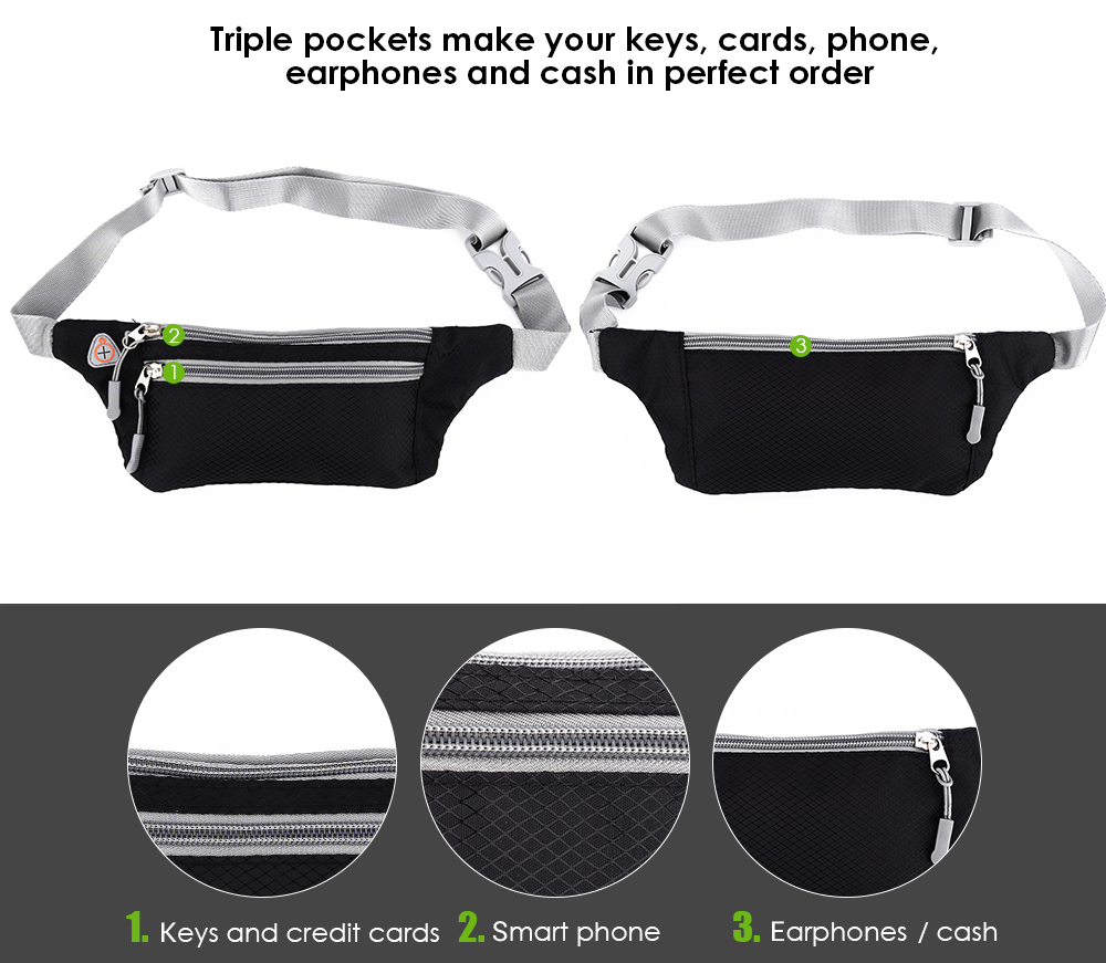 Breathable Sports Waist Belt Adjustable Fitness Phone Bag Case Triple Pockets for 4 - 6 inch Smart Phones