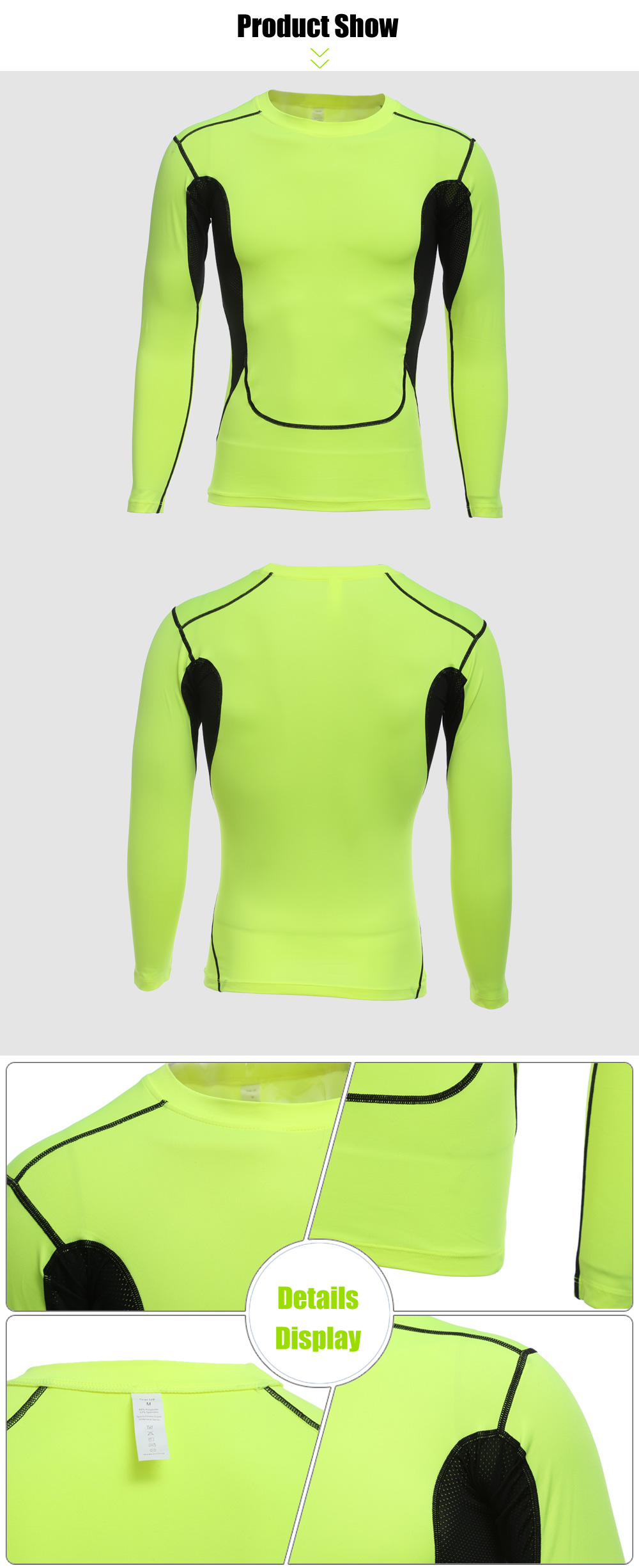 Men Color Block Breathable Air-mesh Long Sleeves Tight T-shirt for Running