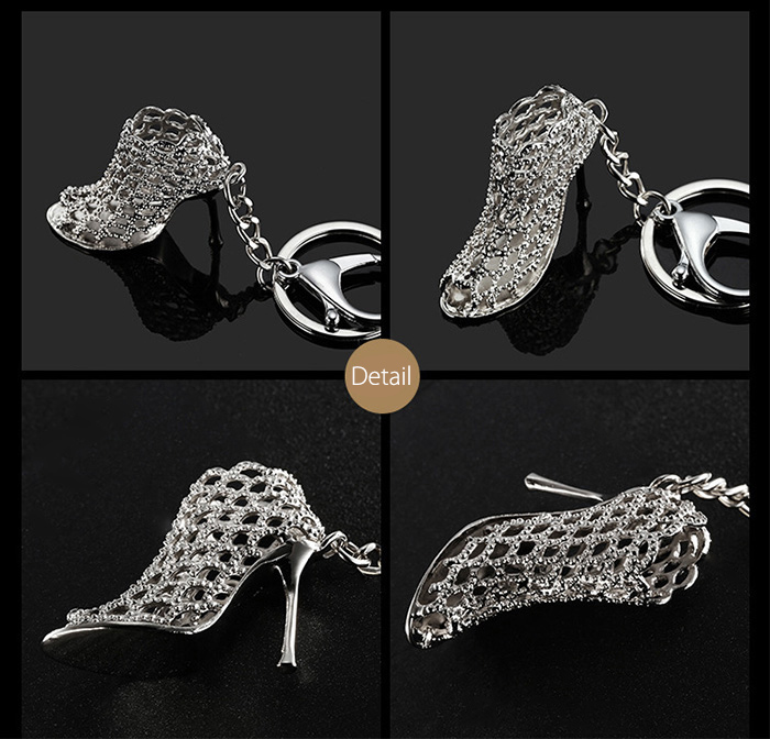 Alloy Key Chain High Heel Shoe Hanging Pendant Keyring - 4.3 inch