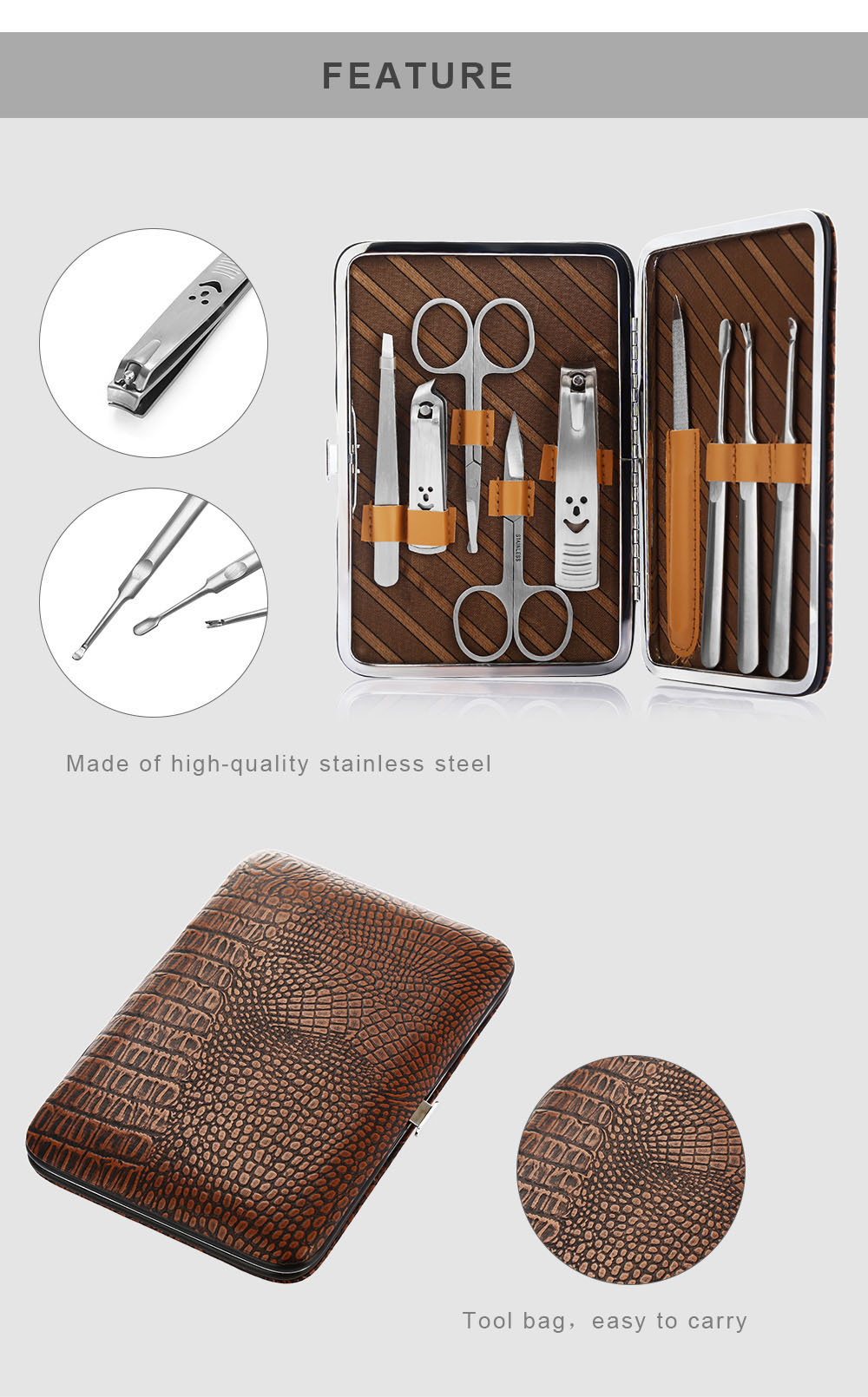 GS908 9 in 1 Manicure Set with Delicate Bag