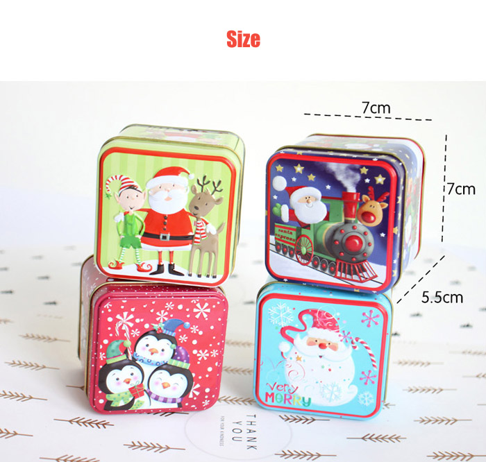 Creative Cartoon Christmas Relief Iron Storage Candy Box