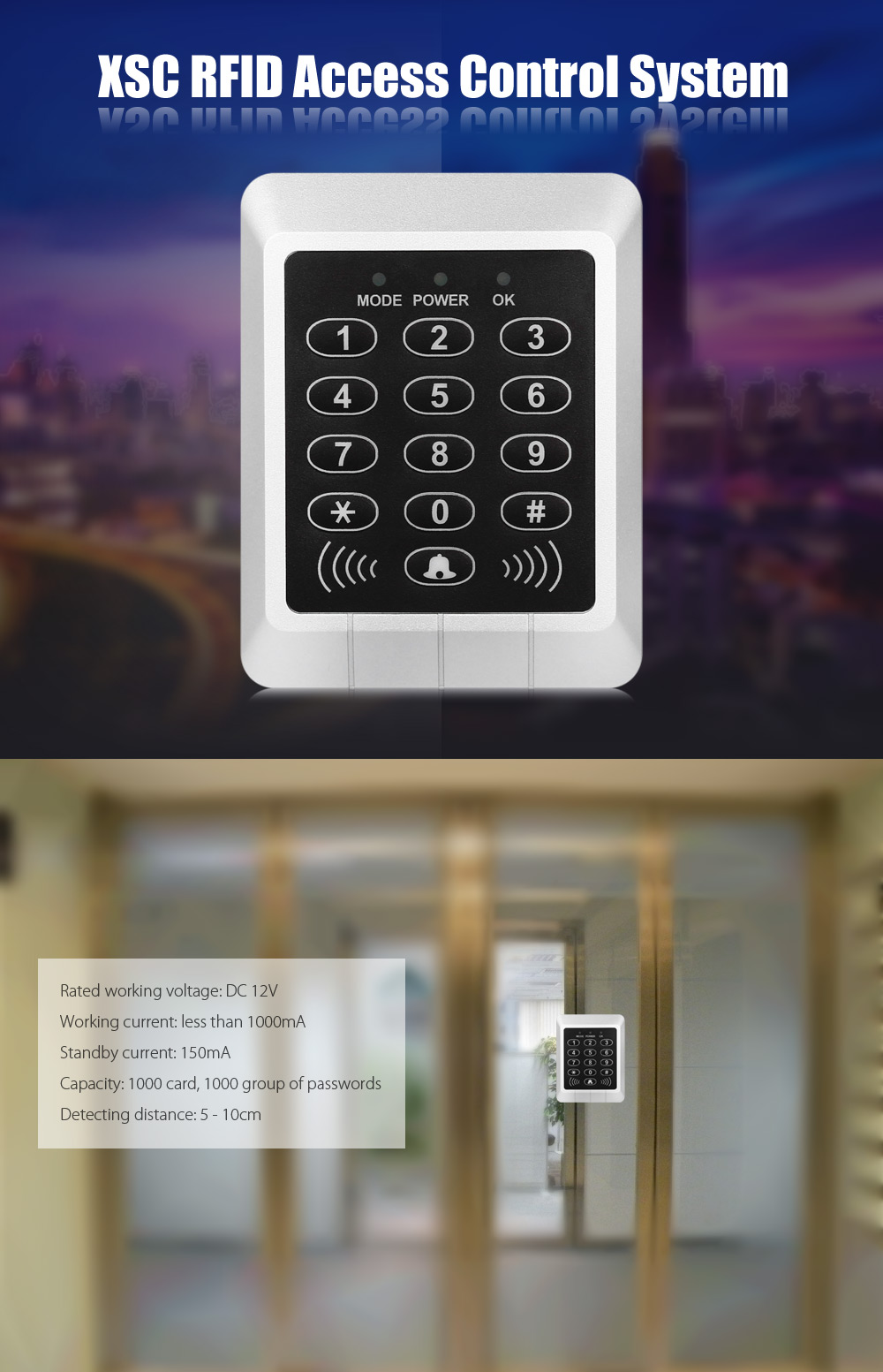 XSC RFID Simple Gate Access Control System Entrance with Password / Inductive Card LED Indicator