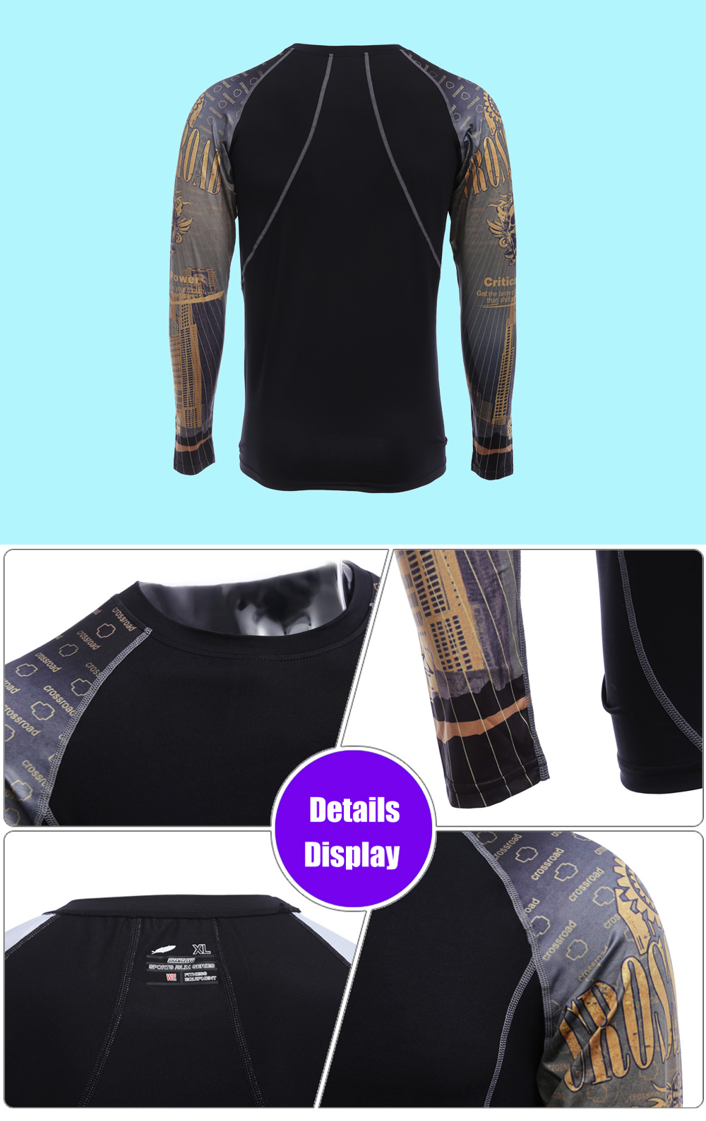 Men Yellow Crossroad Power Print Long Sleeves Compress Tight T-shirt Quick-drying Fitness Cloth