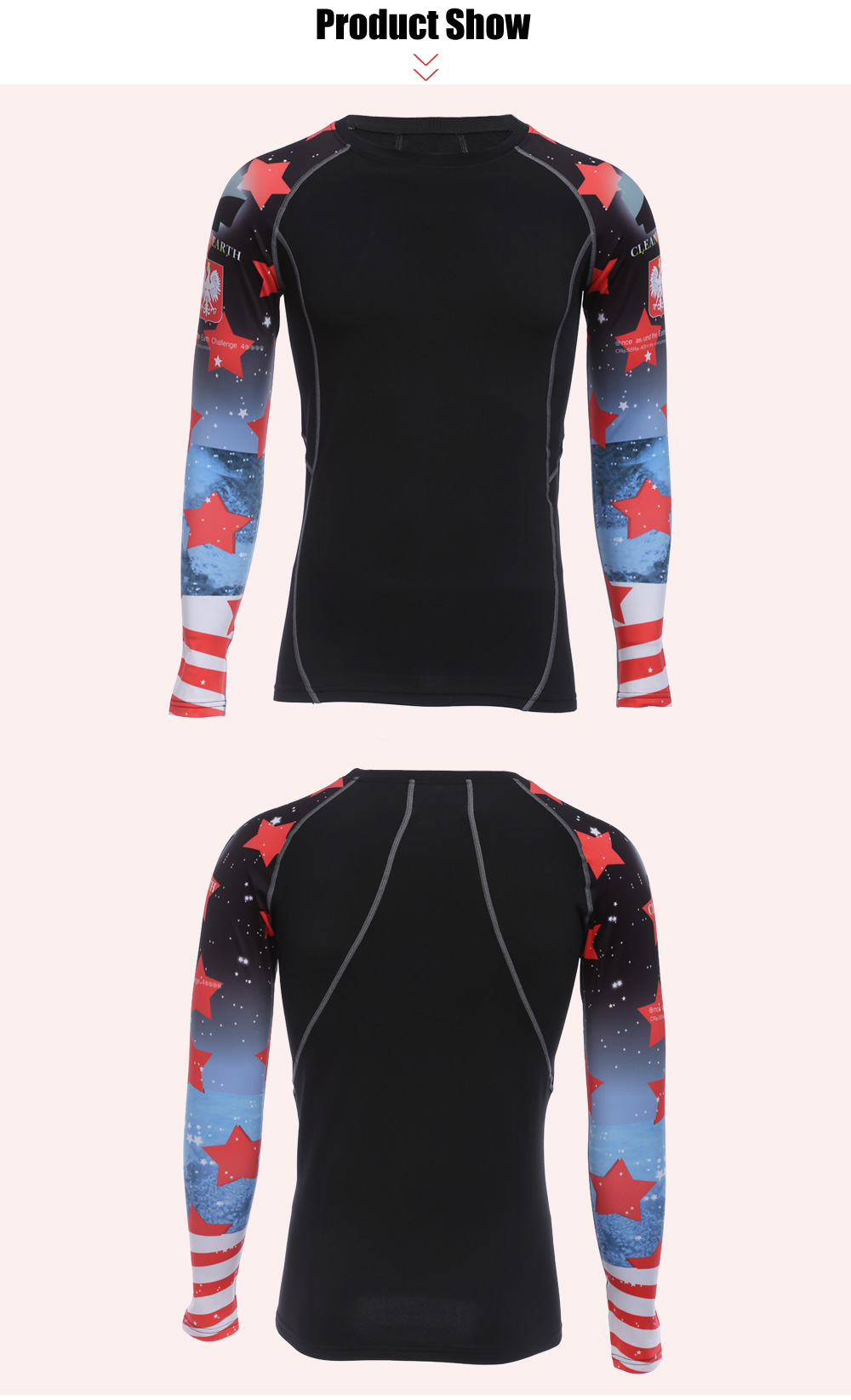 Men Red Star Print Long Sleeves Compress Tight T-shirt Quick-drying Fitness Cloth with Velvet
