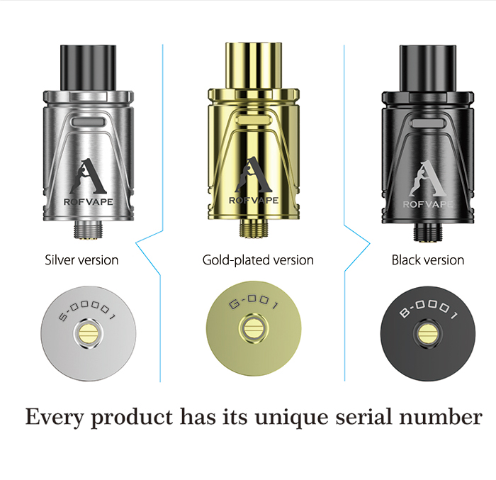 Original Rofvape DAC - RDA with Velocity Deck / Double Airflow Control / Anti Oil Splashing Design for E Cigarette