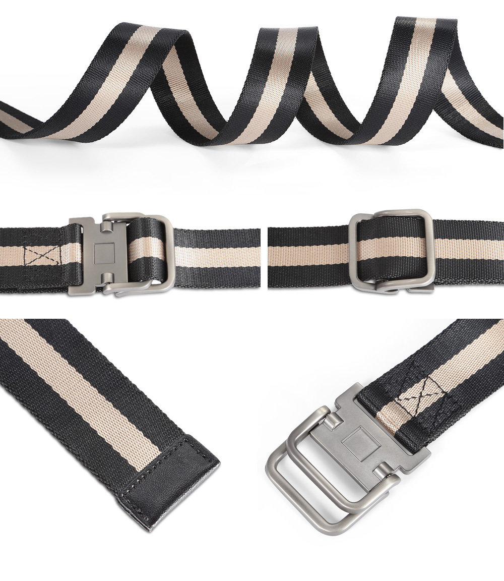 130cm Smooth Striped Nylon Belt with Stylish Zinc Alloy Buckle for Adult Students