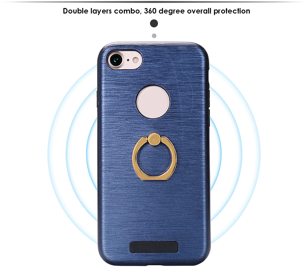 Brushed Finish Surface Ring Holder Protective Case for iPhone 7 Double Layers Protection