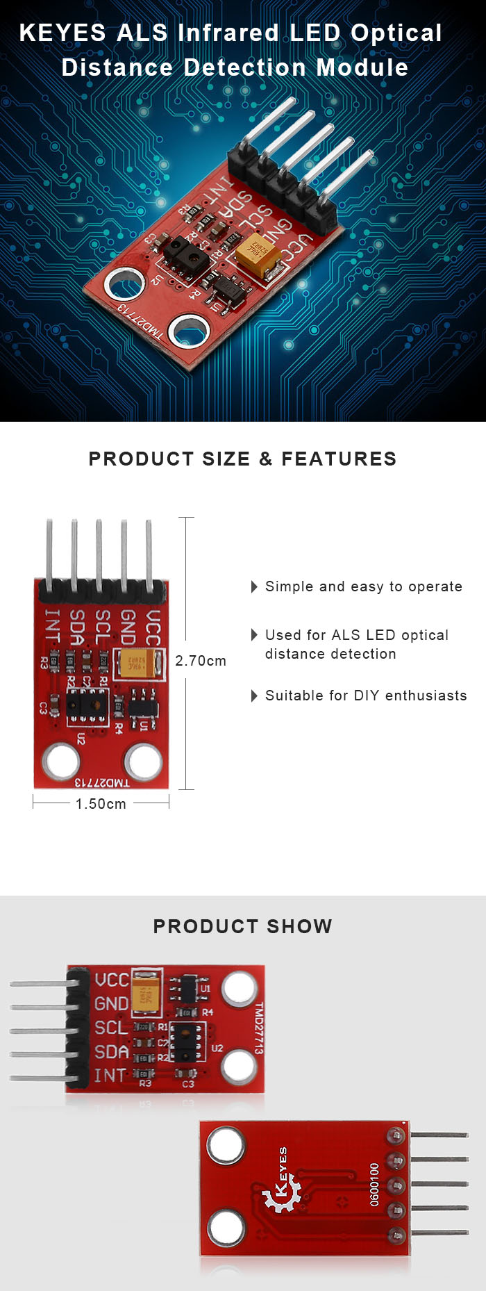 KEYES ALS Infrared Optical LED Light Distance Detection Module for Arduino