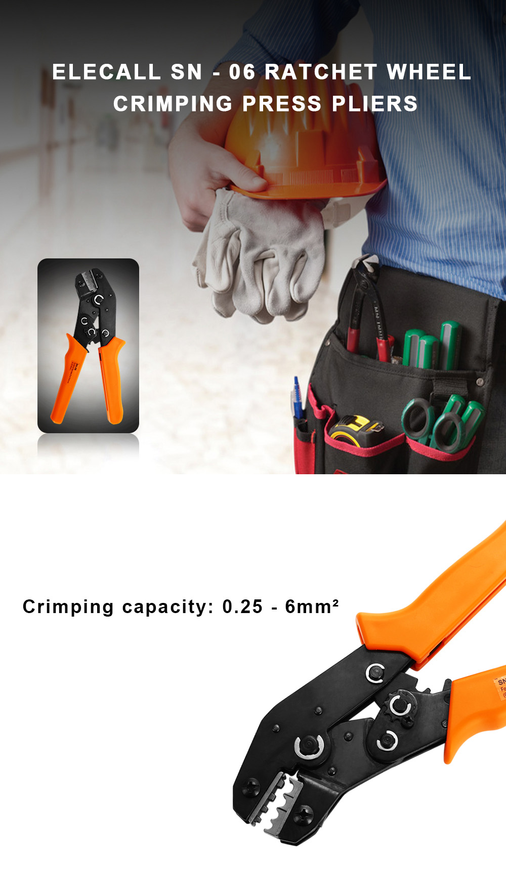ELECALL SN - 06 Ratchet Wheel Save Effort Crimping Press Pliers