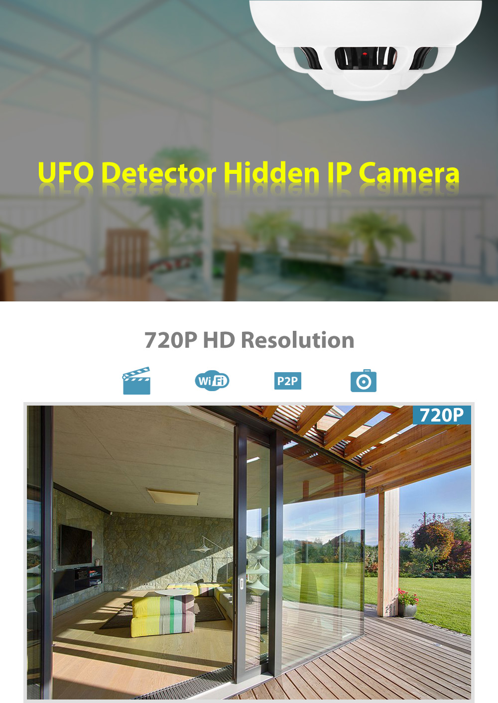 UFO Detector Hidden IP Camera with CMOS 4 Video Pinhole Lenses 90 Degree Wide Angle